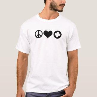平和愛およびヘルスケアblack.png tシャツ