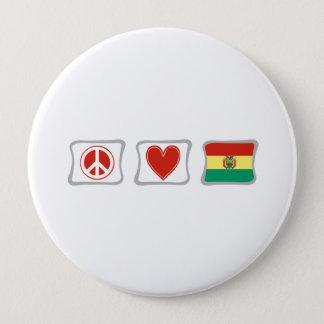 平和愛およびボリビアの正方形 10.2CM 丸型バッジ