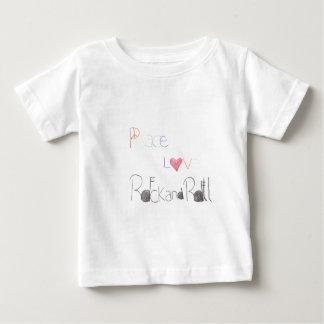 平和愛およびロックンロール ベビーTシャツ