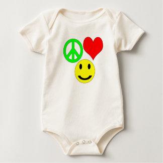 平和愛および幸福の願い ベビーボディスーツ