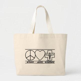 平和愛および看護 ラージトートバッグ