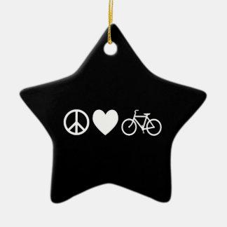 平和愛および自転車 セラミックオーナメント