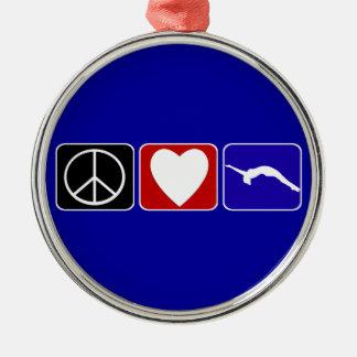 平和愛および転倒 メタルオーナメント