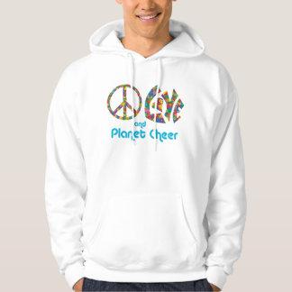 平和愛およびPCのフード付きスウェットシャツ パーカ