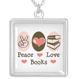 平和愛はネックレスを予約します シルバープレートネックレス