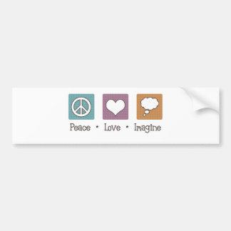 平和愛は想像します バンパーステッカー