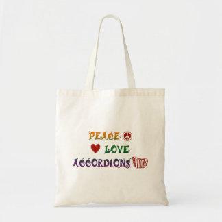 平和愛アコーディオンの虹の正方形 トートバッグ