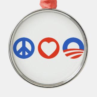 平和愛オバマ メタルオーナメント