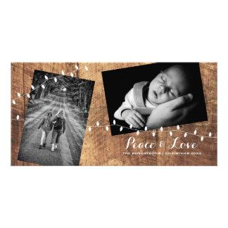平和愛クリスマスによってばらまかれる写真木ライト カード