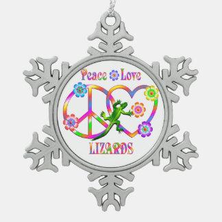 平和愛トカゲ スノーフレークピューターオーナメント