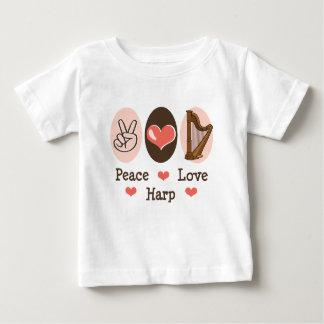 平和愛ハープのベビーのTシャツ ベビーTシャツ