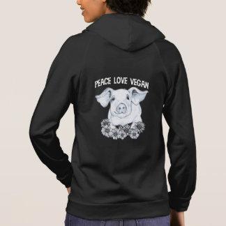 平和愛ビーガンのブタのフード付きスウェットシャツ パーカ