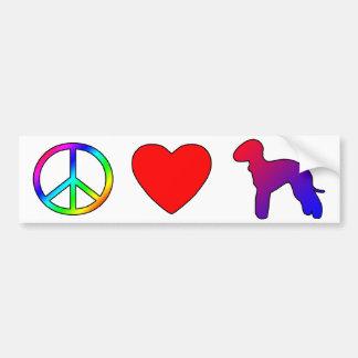 平和愛ベドリントン・テリア バンパーステッカー