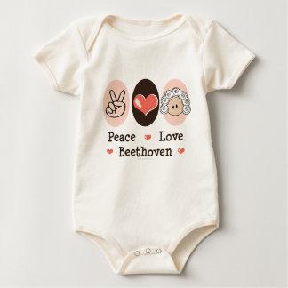 平和愛ベートーベンのオーガニックなベビーのボディスーツ ベビーボディスーツ