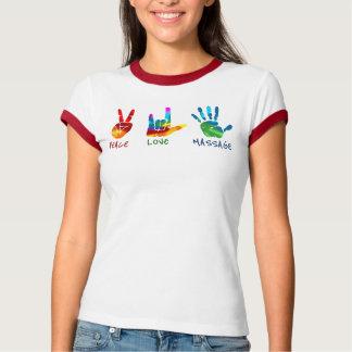 平和愛マッサージ手-絞り染め Tシャツ