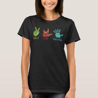 平和愛マッサージ手-黒 Tシャツ