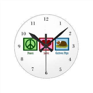 平和愛モルモット ラウンド壁時計