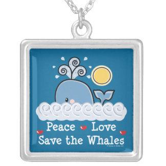 平和愛保存クジラのネックレス シルバープレートネックレス