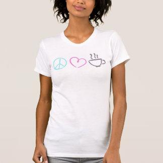 平和愛及びコーヒー穀物のワイシャツ Tシャツ