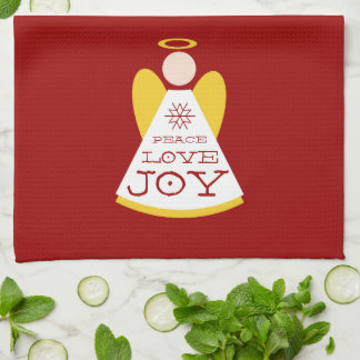 平和愛喜びのクリスマスの天使の赤および金ゴールド キッチンタオル