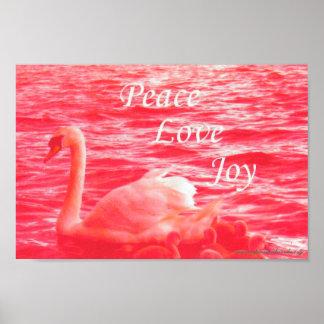 平和愛喜びのピンクの白鳥家族 ポスター