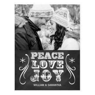 平和愛喜びの黒板の休日の郵便はがき ポストカード