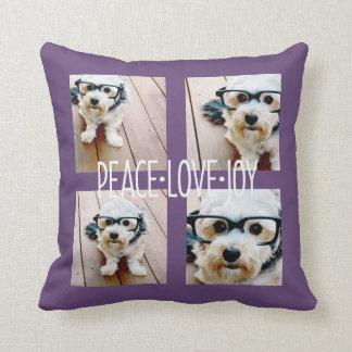平和愛喜び-休日の写真のコラージュの紫色 クッション