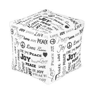 平和愛喜び-白黒キューブパフ プーフ