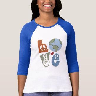 平和愛地球のRaglanのTシャツ Tシャツ