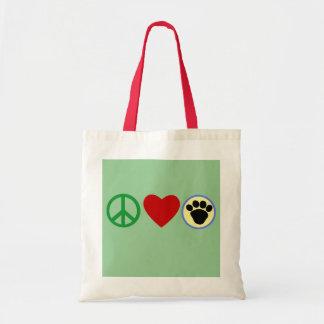 平和愛子犬の足のTシャツ、ギフト トートバッグ