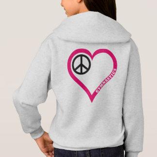 平和愛応援の女の子の体操のワイシャツのフード付きスウェットシャツ