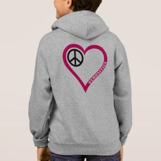 平和愛応援の女の子の体操のワイシャツのフード付きスウェットシャツ スウェットシャツ