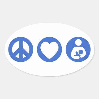 平和愛母乳で育てること 楕円形シール