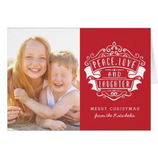 平和愛笑い声の休日の挨拶状|の赤 カード