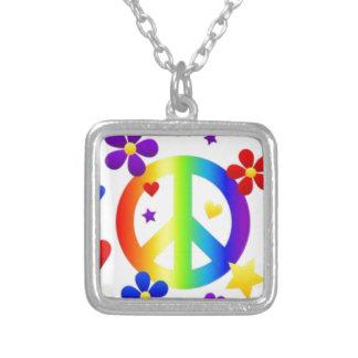 平和愛絞り染めのヒッピーの記号 シルバープレートネックレス