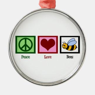 平和愛蜂 シルバーカラー丸型オーナメント