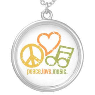 平和愛音楽ネックレス シルバープレートネックレス