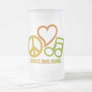 平和愛音楽マグ-スタイル及び色を選んで下さい フロストグラスビールジョッキ