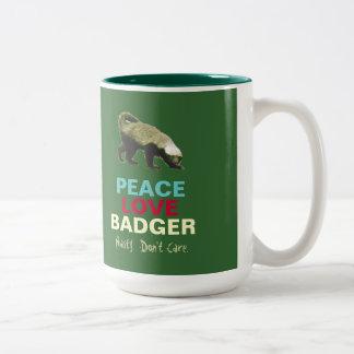 平和愛(蜂蜜)アナグマのコーヒー・マグ(緑) ツートーンマグカップ