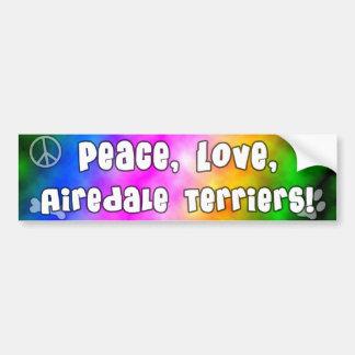 平和愛Airedaleテリアのバンパーステッカー バンパーステッカー