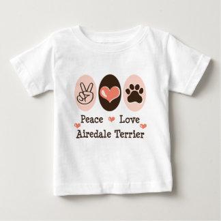 平和愛AiredaleテリアのベビーのTシャツ ベビーTシャツ