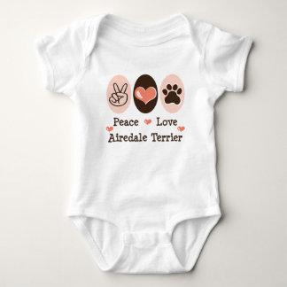 平和愛Airedaleテリアの乳児のクリーパー ベビーボディスーツ