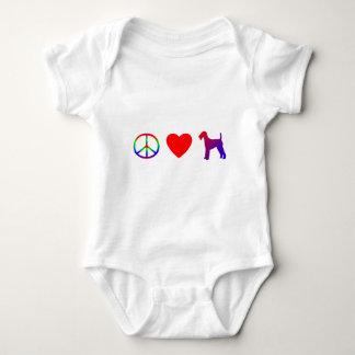 平和愛Airedaleテリアの子供のTシャツ ベビーボディスーツ