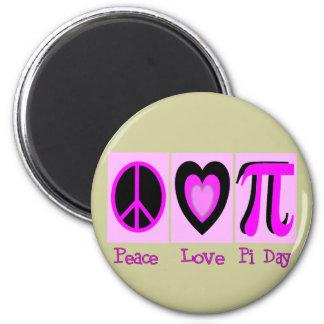 平和愛Pi日のピンクのギフト マグネット
