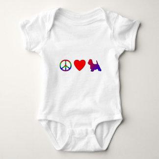 平和愛Westiesの子供のTシャツ ベビーボディスーツ
