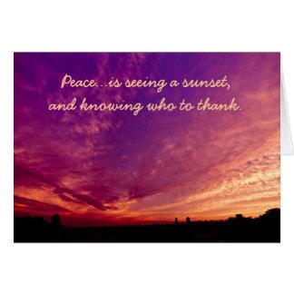 平和感謝した感謝しているオレンジ紫色の雲の日没 カード