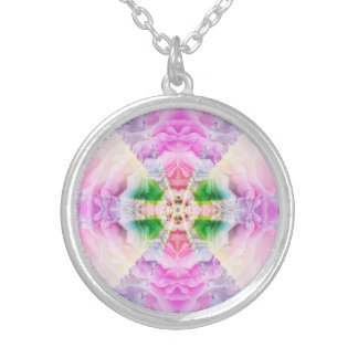 平和曼荼羅のネックレスのバラ シルバープレートネックレス