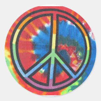 平和絞り染めの円形のステッカー ラウンドシール