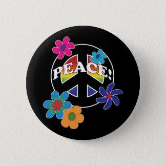 平和花のピースサイン 5.7CM 丸型バッジ