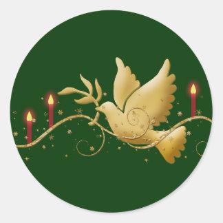 平和蝋燭の金ゴールドのクリスマスの鳩 ラウンドシール